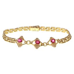 Pre-owned Yellow Gold Ruby Bracelet - 7.3 Inches - 11g