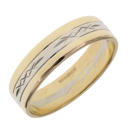 Pre-owned 14ct Yellow & White Gold Patterned Ring - 6g - Size w