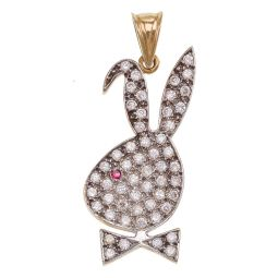 Pre-owned 9ct Gold CZ Bunny Pendant - 7g