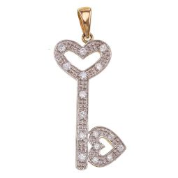 Pre-owned 9ct Gold CZ Key Pendant