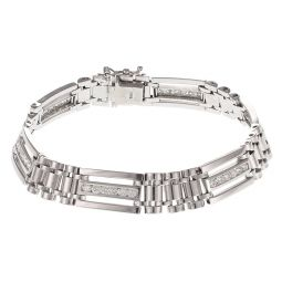 Pre-owned 18ct White Gold Diamond Gate Bracelet - 8.5 Inches - 33g
