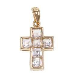 Pre-owned 9ct Gold CZ Cross Pendant