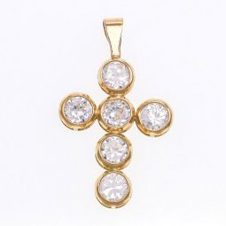 Pre-owned 9ct Gold Cross CZ Pendant