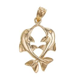 Pre-owned 9ct Gold Pisces Zodiac Sign Pendant