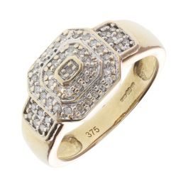Pre-Owned 9ct Yellow Gold Diamond Pinky Ring