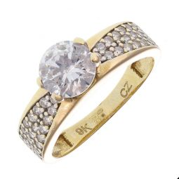 Pre-Owned 9ct Yellow Gold CZ Solitaire Shoulder Set Ring