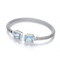 Sterling Silver Bangle Set With Blue Topaz