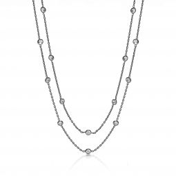 """Silver Fancy Necklace Set With Cubic Zirconia 38"""""""