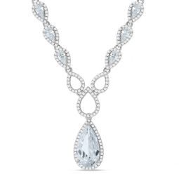 """Silver Fancy Necklace Set With Cubic Zirconia 17"""""""