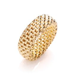 Yellow Coated Silver Mesh Ring