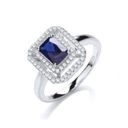 Silver & Blue CZ Cluster Ring