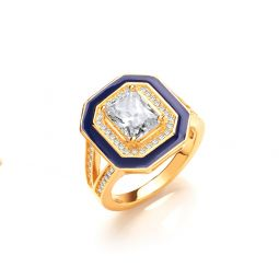 Yellow Coated Silver & White CZ Signet Ring