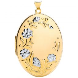 9ct White and Yellow Gold Oval Flower design Locket