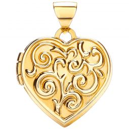 9ct Yellow Gold Heart Shape Locket with design
