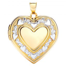 9ct Yellow and White Gold Heart Shape Locket