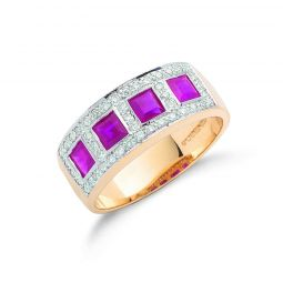 9ct Yellow Gold Diamond and Ruby half Eternity Ring 7.5mm