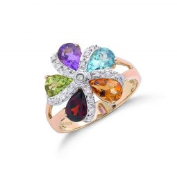 9ct Yellow Gold Diamond & Multi Colour St Flower / Cluster Ring