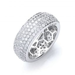 18ct White Gold 2.40cts Diamond Pave Set Full Eternity Ring 7mm