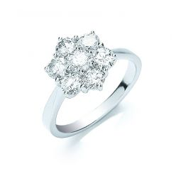 18ct White Gold 7 Stones 1.50cts Cluster Diamond Ring