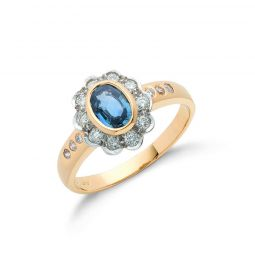 18ct Yellow Gold 0.90ct Blue Sapphire & 0.36ct Diamond Cluster Ring