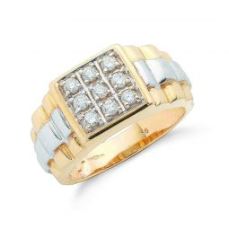 9ct Yellow Gold 0.50ct 9 Stone Rolex Style Gents Diamond Ring