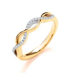 9ct Yellow Gold 0.10cts Entwined Diamond Ring