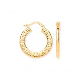Silver Small Ribbed Gold Plated Hoop Earrings