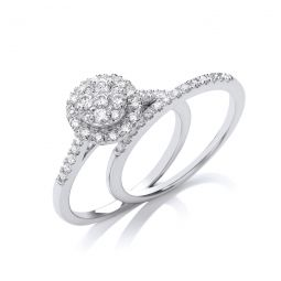 18ct Gold and diamond Halo ring with diamond band 0.50cts