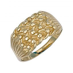 9ct Yellow Gold Light Weight 4 Row Keeper Ring 11.5mm