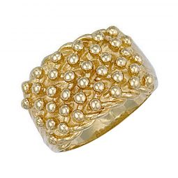 9ct Yellow Gold Woven Back 6 Row Keeper Ring 17mm