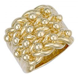 9ct Yellow Gold Woven Back 4 Row Keeper Ring 22.5mm