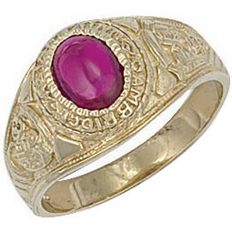 9ct Yellow Gold Red Cabochon College Ring