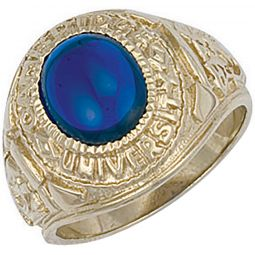 9ct Yellow Gold Blue Cabochon University/College Ring