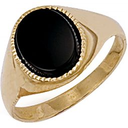 9ct Yellow Gold Plain Oval Black Stone Ring