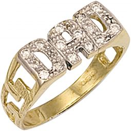 9ct Yellow Gold CZ Dad Ring