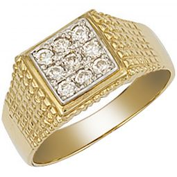 9ct Gold Square Top Gents Cz Ring