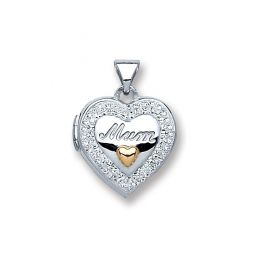 Silver Heart Mum with Crystals Locket