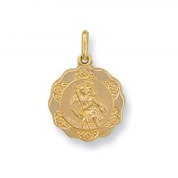 9ct Yellow Gold Light Weight St Christopher Pendant