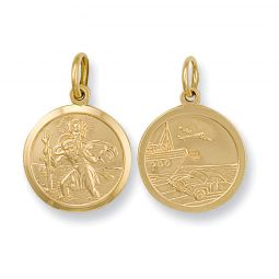 9ct Yellow Gold Double Sided St Christopher Pendant