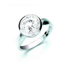 Silver Rubover Set Cz Solitaire Ring