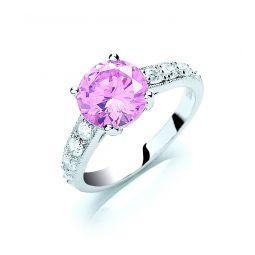 Silver Claw Set Pink Cz Solitaire Ring
