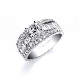 Silver Rd Solitaire with Princess & Rd Cz on Shld Ring