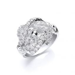 Silver Cz Knot Gents Ring