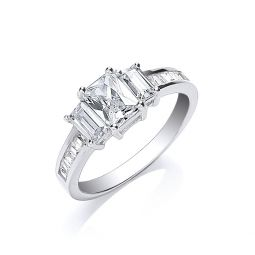 Silver Trilogy with Baguettes Cz & on Shoulder Ring