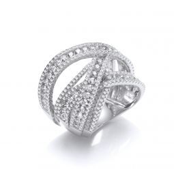 Silver Intertwined Channel & Pave Set Cz Ring