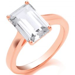 Silver RG Plated Emerald Cut Solitaire Ring