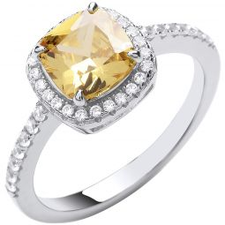 Silver Yellow CZ Ring