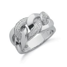 Silver Cz Chain Link Ring