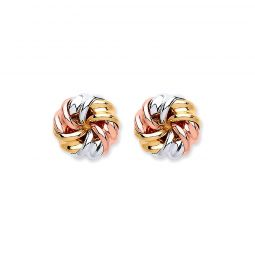 9ct White And Yellow Gold Tight Knot Studs 7.5mm