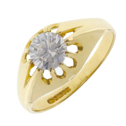 Pre-owned 9ct Yellow Gold CZ Pinky Ring - Size O Cubic Zirconia Gold